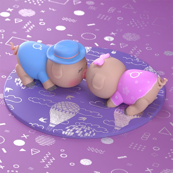 Piglets Scene for Cinema 4D and Redshift