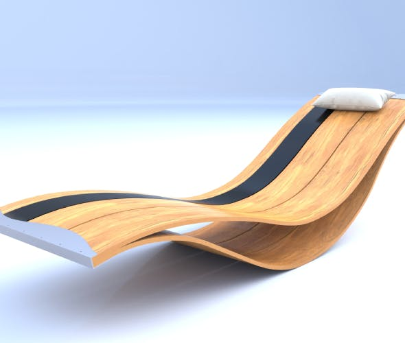 Modern Wooden Pool Lounge Chair - Designed by Pooz 3D model - 3DOcean Item for Sale
