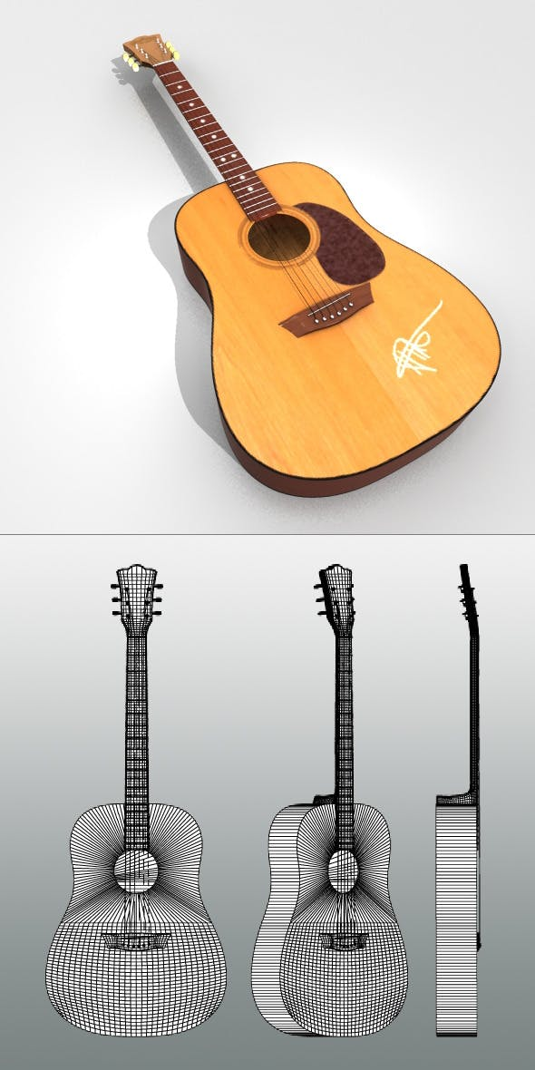Realistic Acoustic Guitar - 3DOcean Item for Sale