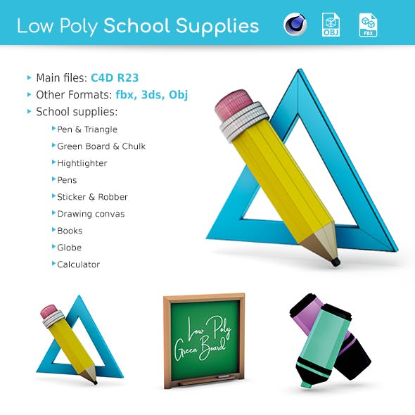 Low Poly School Supplies