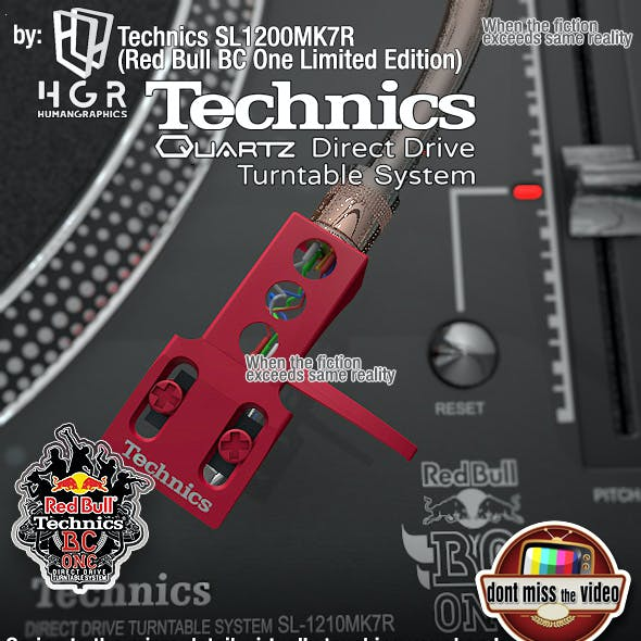 Turntable pro Technics SL1200MK7 - Red Bull BC Limited Edition