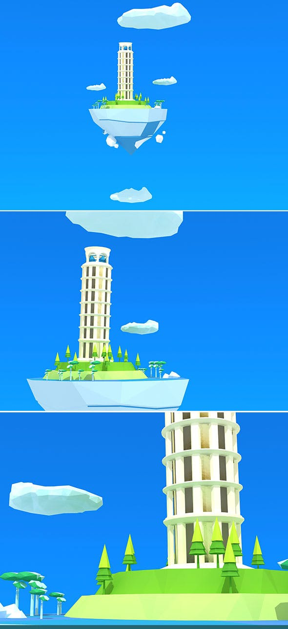 Pisa Tower Island Low Poly - 3DOcean Item for Sale