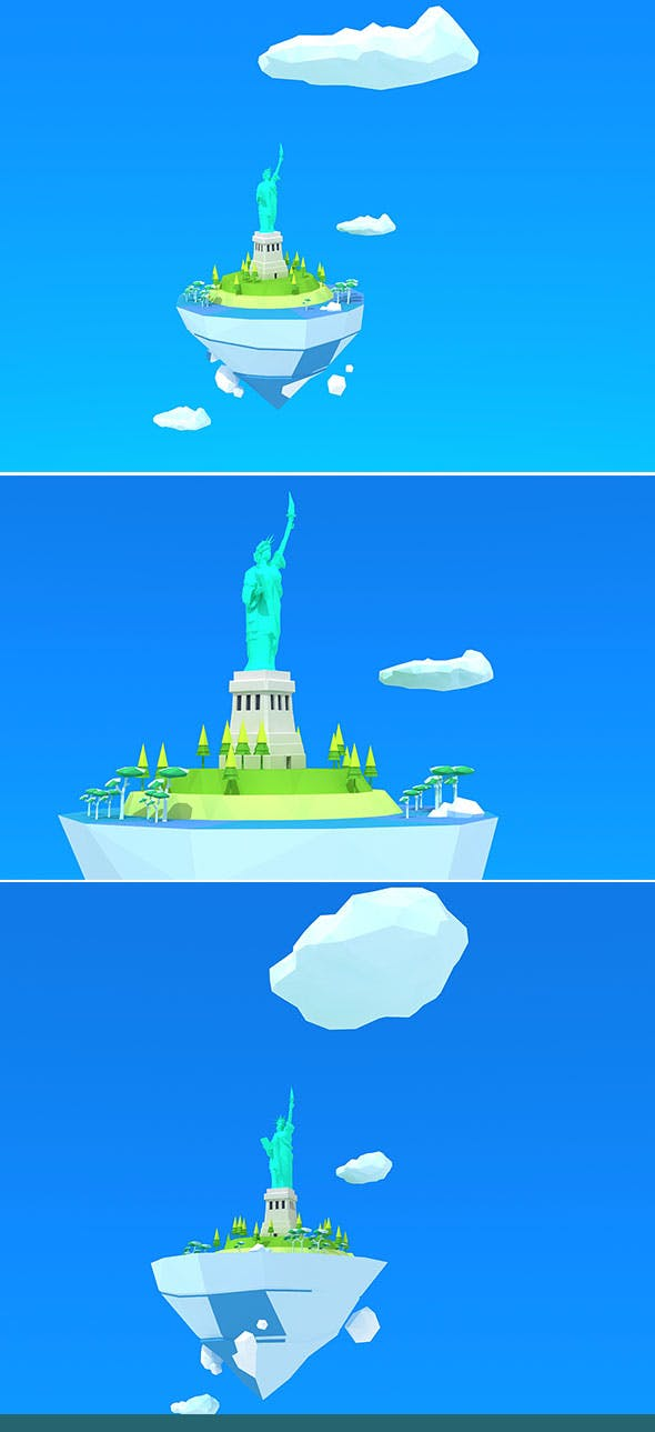 statue of liberty Island Low Poly - 3DOcean Item for Sale