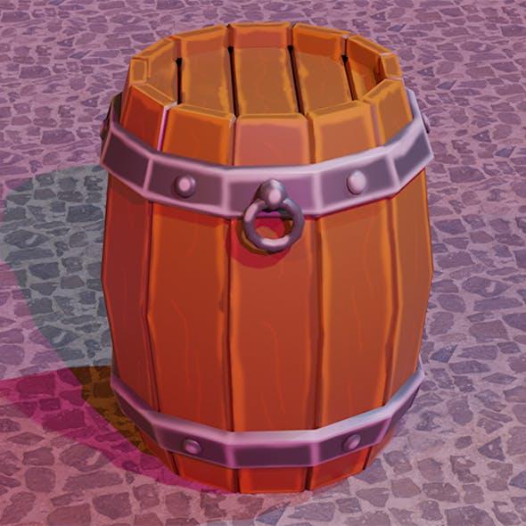 Handmade wooden barrel Low-poly 3D model