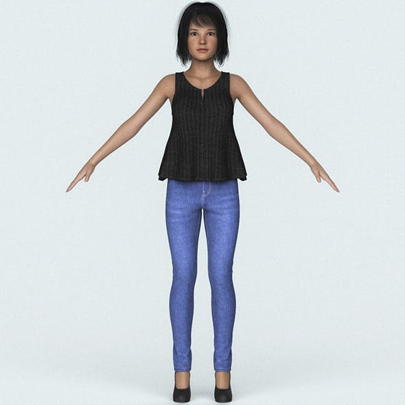 Beautiful Teen Girl 3D Character