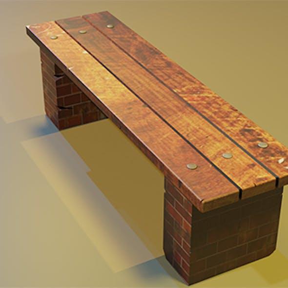 Street bench Low-poly 3D model
