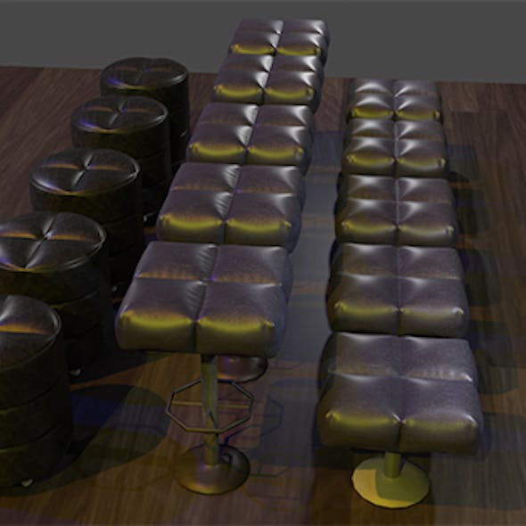 Cushioned furniture Low-poly 3D model
