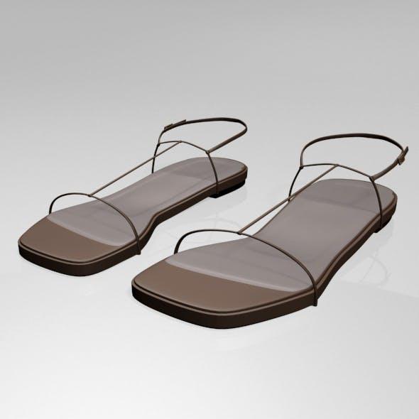 Square-Toe T-Strap Flat Sandals 01