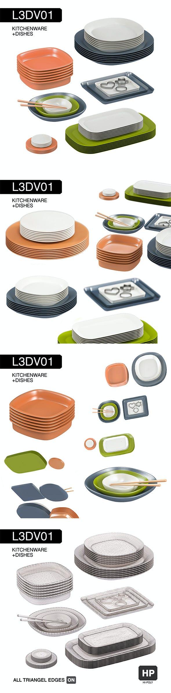 L3DV01G02 - kitchen dishes set - 3DOcean Item for Sale