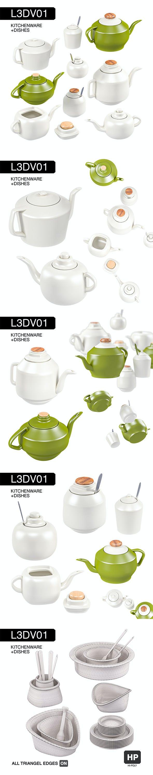 L3DV01G04 - kitchen teapots sugars set - 3DOcean Item for Sale
