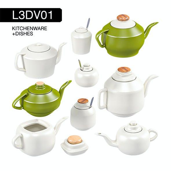 L3DV01G04 - kitchen teapots sugars set