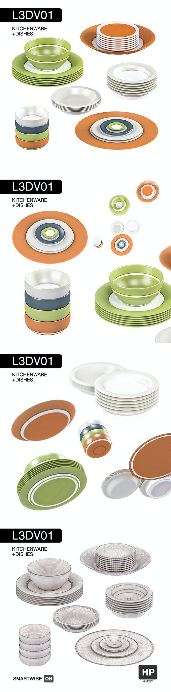 L3DV01G05 - kitchen dishes set - 3DOcean Item for Sale