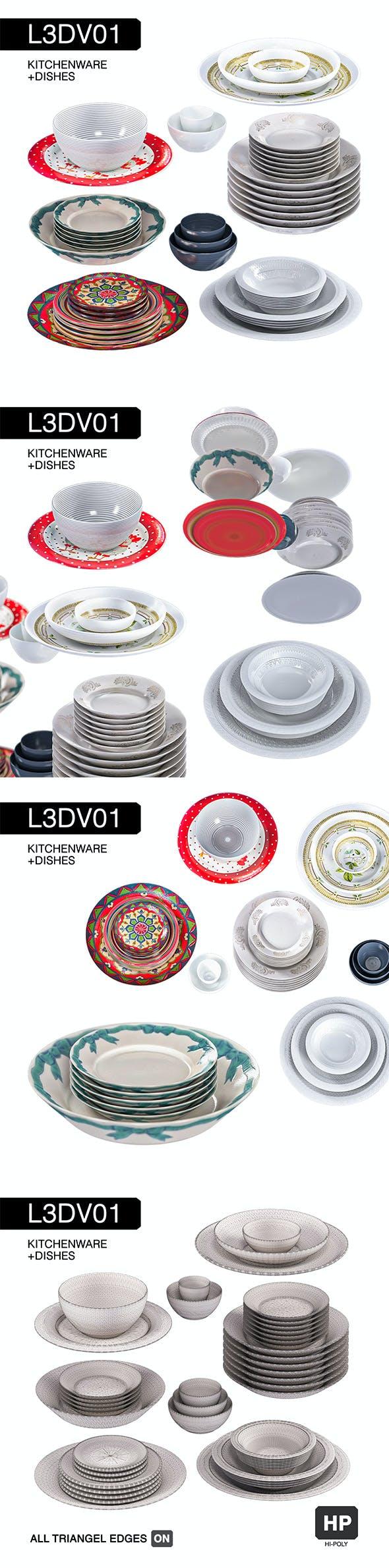 L3DV01G06 - kitchen dishes set - 3DOcean Item for Sale