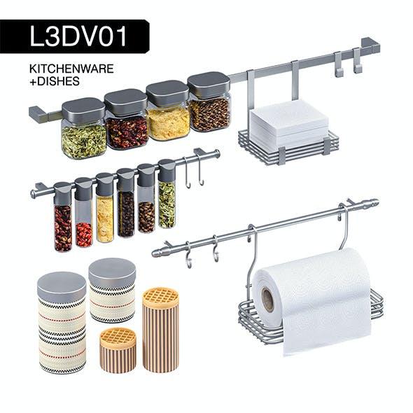 L3DV01G07 - kitchenware rails cans towels set