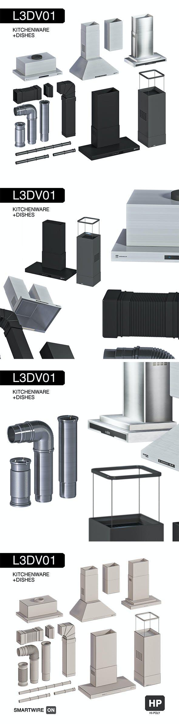 L3DV01G08 - kitchen hoods fans pipes set - 3DOcean Item for Sale