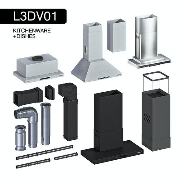 L3DV01G08 - kitchen hoods fans pipes set