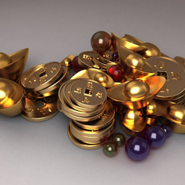 Treasure Pearls sapphires cartoon jewelry Gold Coins