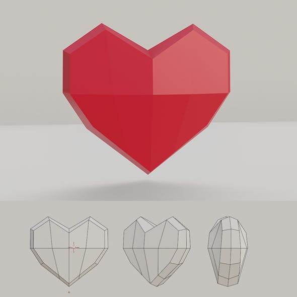 Low Poly Heart Base Mesh - 3DOcean Item for Sale