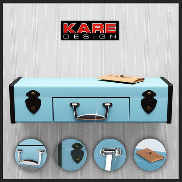 Shelf Kare Design Wall Shelf Suitcase White 1Drw 78364 3D model