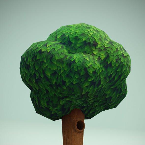 Cartoon Tree With Hollow 3D Model