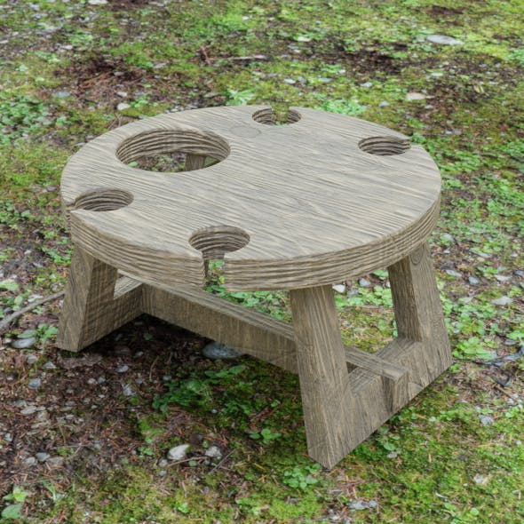 Wooden wine table - 3DOcean Item for Sale