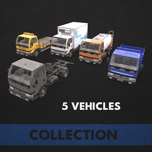 Light Truck Collection - Low Poly - 3DOcean Item for Sale