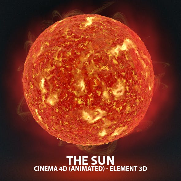 The Sun Animated 3D Model for Cinema 4D & Element 3D