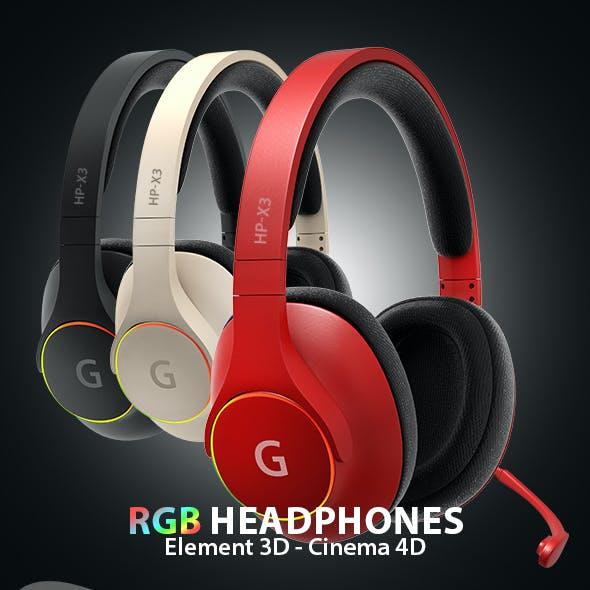 RGB Headphones 3D Model for Element 3D & Cinema 4D