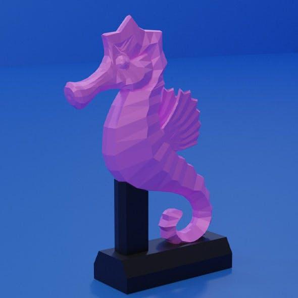 Low poly cartoon seahorse