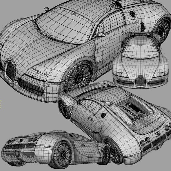 Bugatti Veyron 16.4 3D Model with Shaders