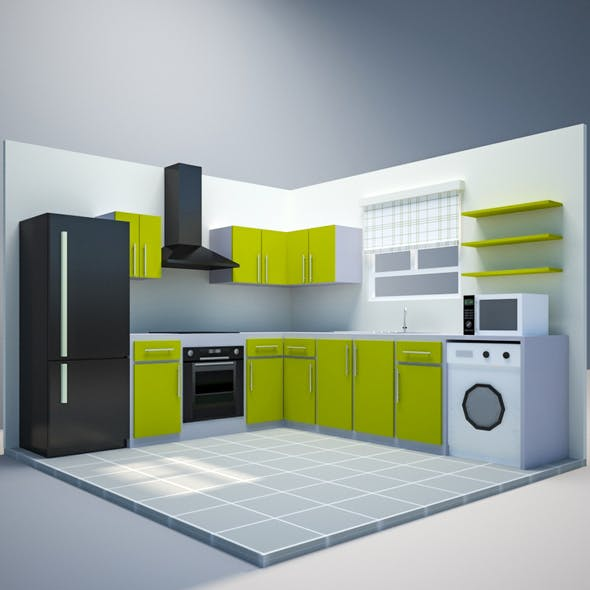 Low Poly Kitchen - 3DOcean Item for Sale