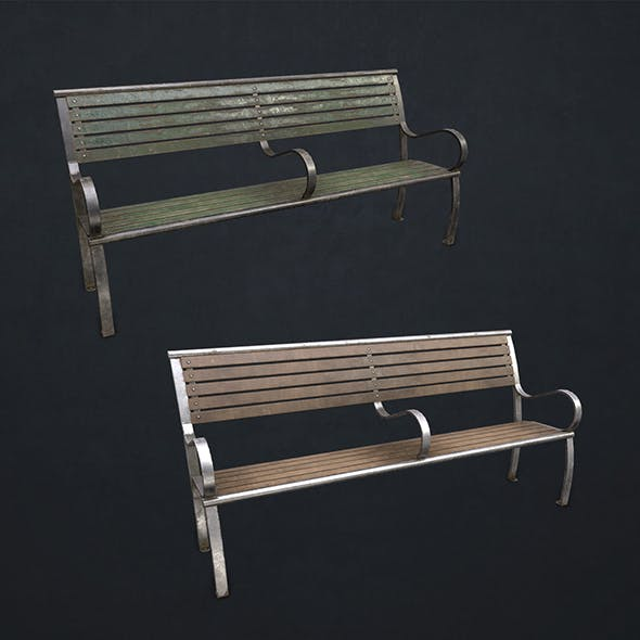 Street Bench - Low Poly - 3DOcean Item for Sale