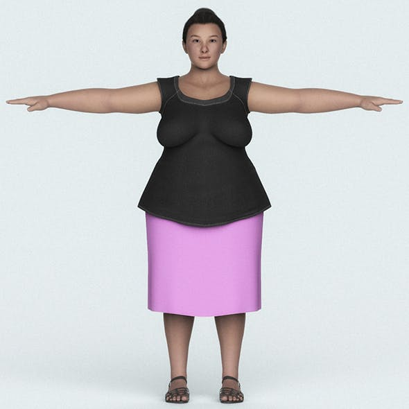 Japanese Fat Woman 3D Character