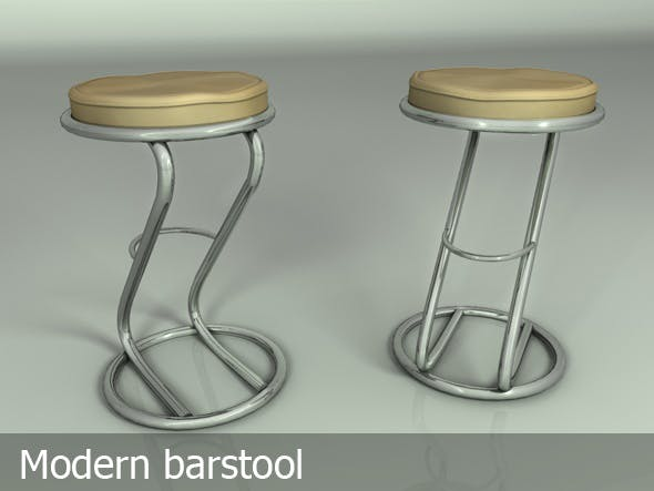 Bar stool silver & leather - 3DOcean Item for Sale