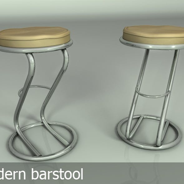 Bar stool silver & leather