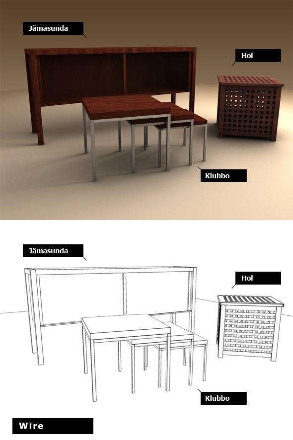 Ikea set - 3 pieces - 3DOcean Item for Sale