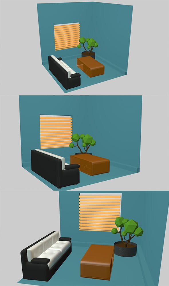 Low poly room - 3DOcean Item for Sale