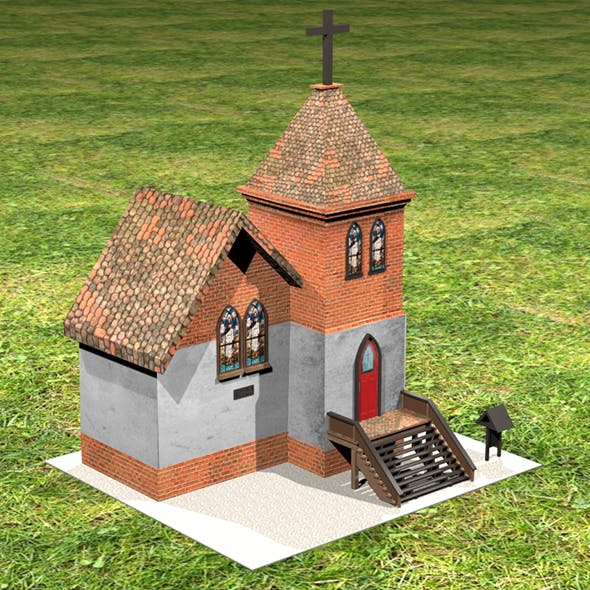 3D Small Church with Texture - 3DOcean Item for Sale