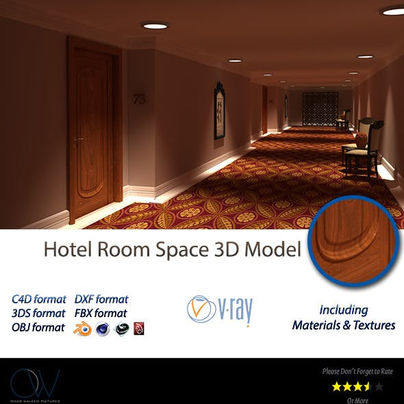 Hotel Room Space 3D Model
