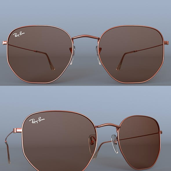 Sunglasses Ray-Ban Hexagonal Flat Lenses Bronze 3D model