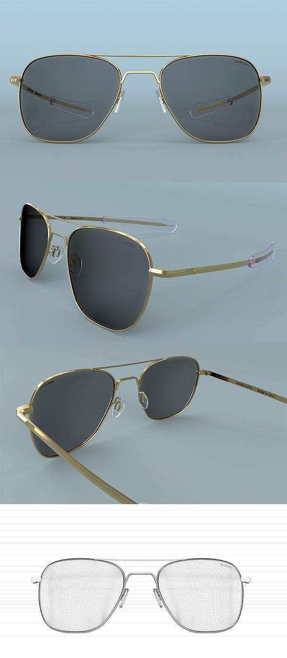 Sunglasses Randolph Aviator Gold Polarized 3D model - 3DOcean Item for Sale