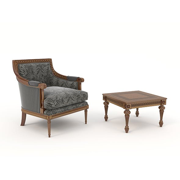 Classic Armchair and Table Set 5