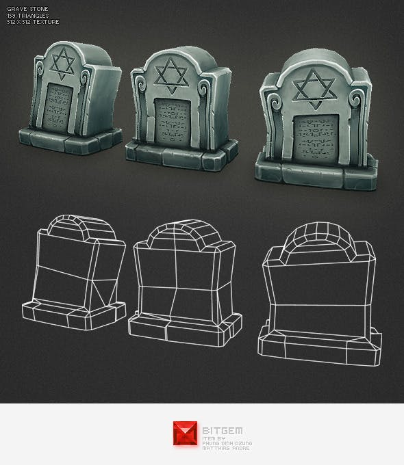 Low Poly Grave Stone 02 - 3DOcean Item for Sale