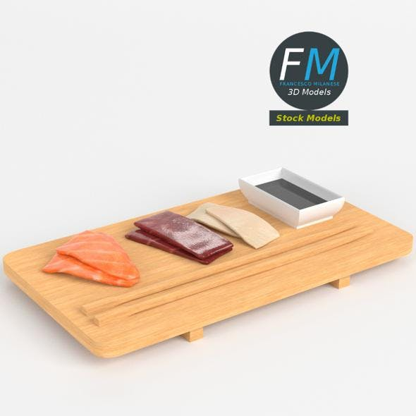 Sushi sashimi and soy sauce - 3DOcean Item for Sale