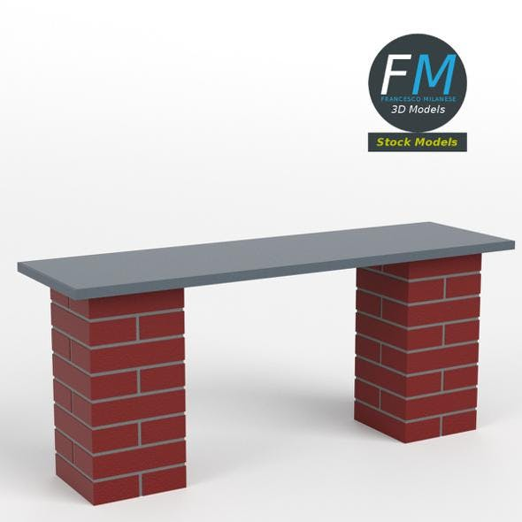 Brick bench - 3DOcean Item for Sale