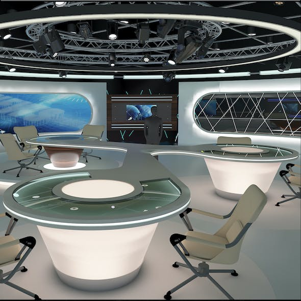 Virtual TV Studio News Set 28