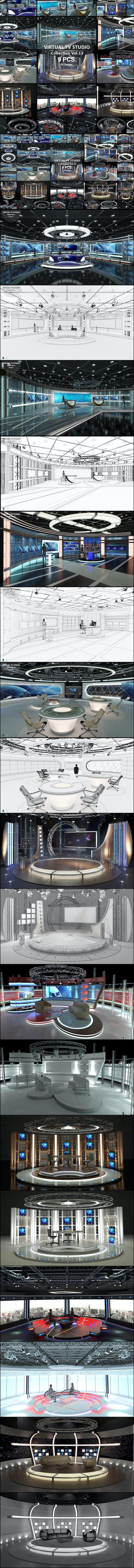 Virtual TV Studio Sets - Collection Vol 13 - 9 PCS DESIGN - 3DOcean Item for Sale