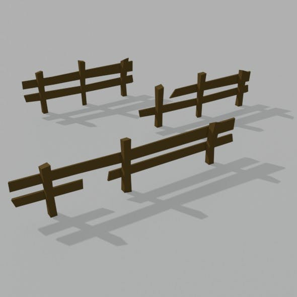 Low-Poly Style Fence - 3DOcean Item for Sale