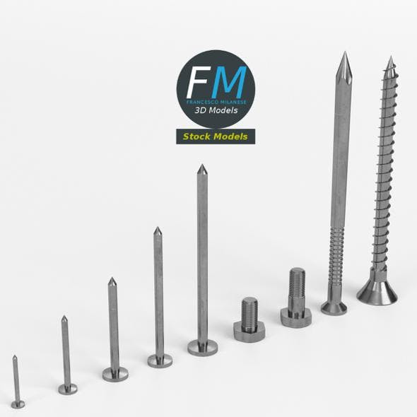 Iron nails and screws set - 3DOcean Item for Sale