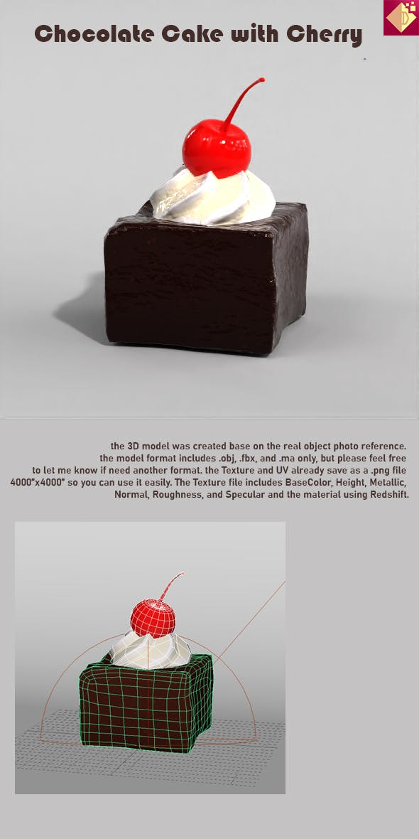 Chocolate Cake with Cherry - 3DOcean Item for Sale